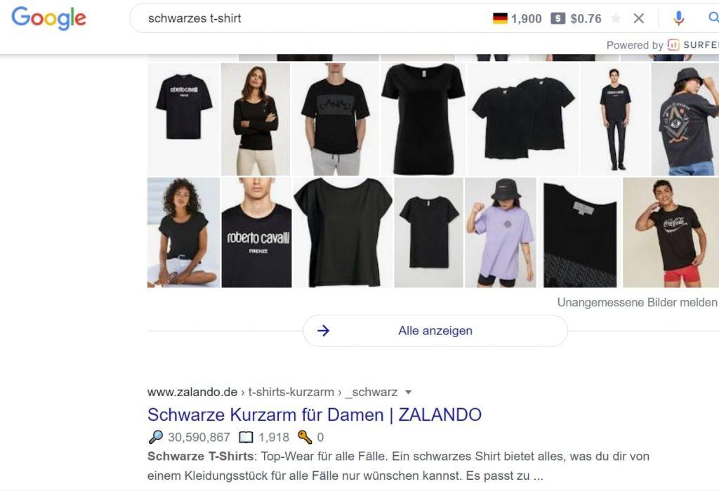 black t-shirt regular results