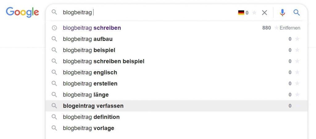 Google Suggest Blogbeitrag