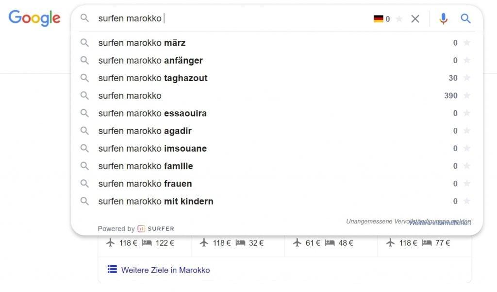 Surfen Marokko Google