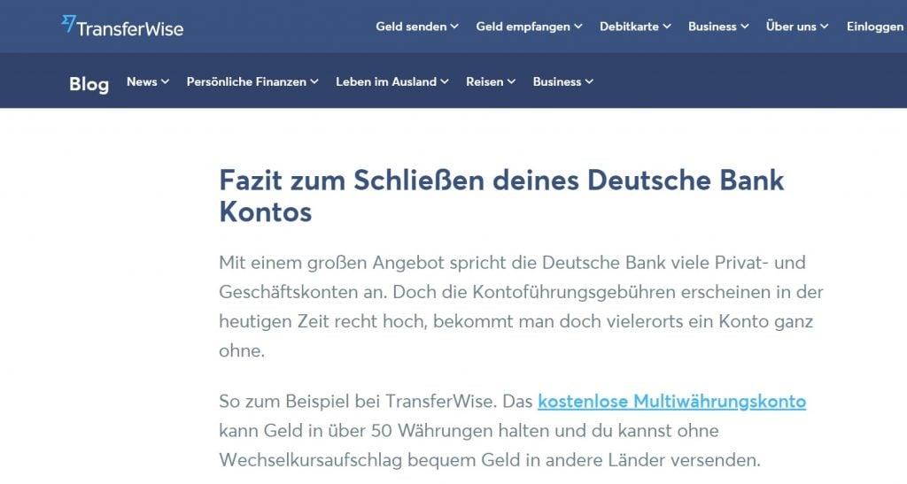 TransferWise Artikel Antwort