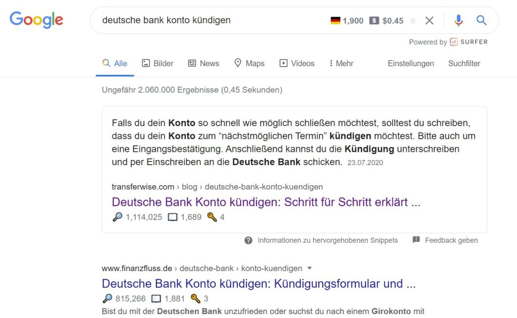 TransferWise SERPS