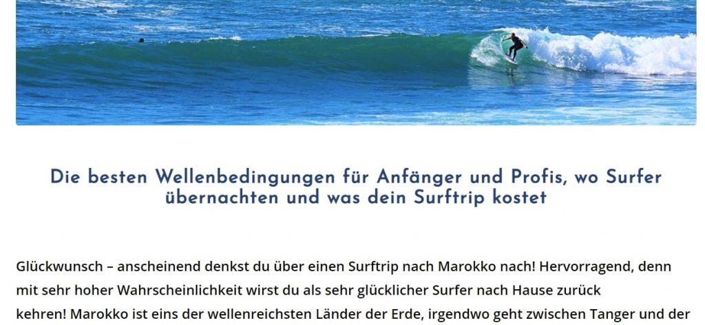 Seo Texte schreiben - surfen marokko platz 1