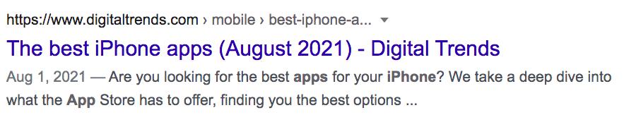 IPhone Google Result