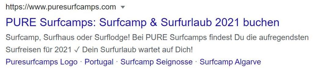 Surfcamp Google Ergebnis