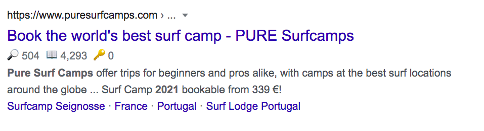 Surfcamp Google Result